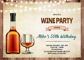 Men wine theme party invite A6 template