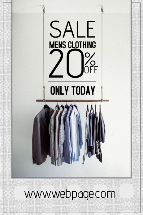 Mens clothing sale portrait poster template postermywall for Fashion flyers templates for free