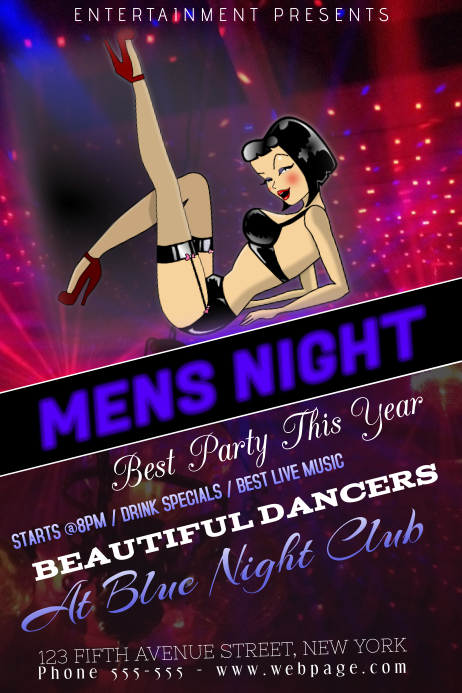 Mens Night Striptease Dance Night Club Flyer Template  Postermywall