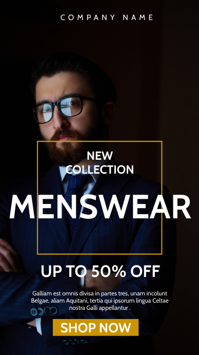 menswear fashion suits advertisement Historia de Instagram template