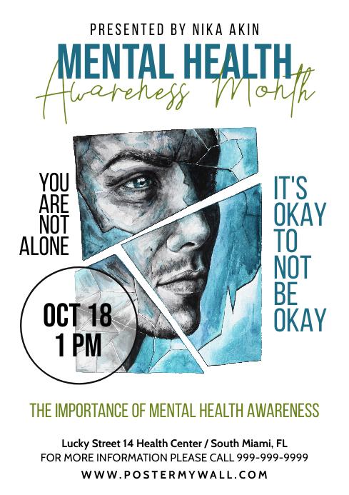 mental awareness a4 flyer health depression template