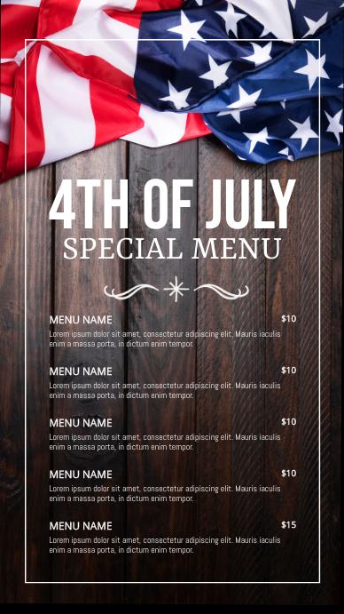 menu, 4th of july menu, 4th of july Цифровой дисплей (9 : 16) template