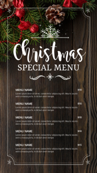 menu, christmas menu, christmas Digital Display (9:16) template