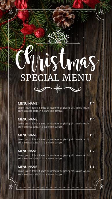 menu, christmas menu, christmas Ekran reklamowy (9:16) template