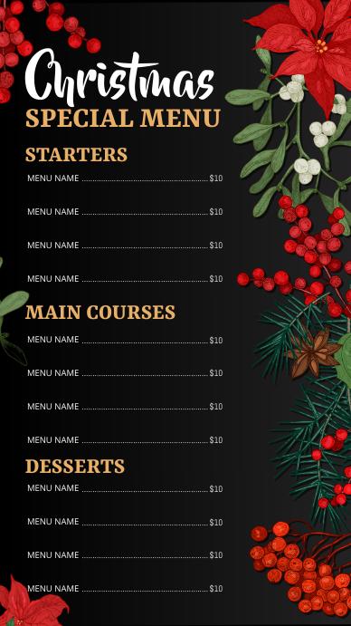 menu, christmas menu, christmas Digitalt display (9:16) template