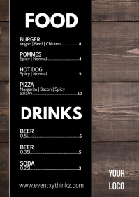 Menu Card Flyer Food Drinks Price List Offer