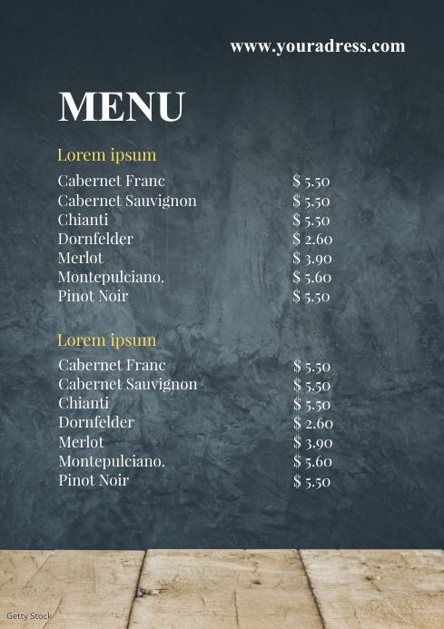 Menu Card Food restaurant take Away Offer A4 template