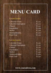 Menu Card Food restaurant take Away Offer A4 template