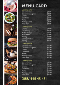 Menu Card Restaurant Template Price List A4