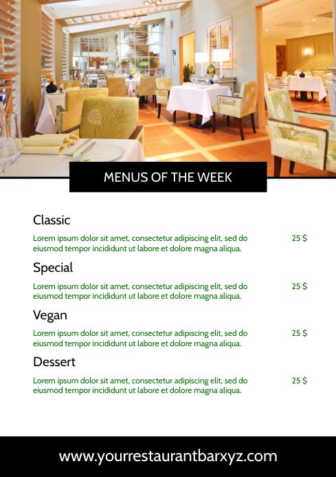 Menu Card Restaurant Template Weekly Offer A4