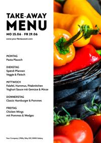 Menu Card Weekly Meals Restaurant Take Away A4 template