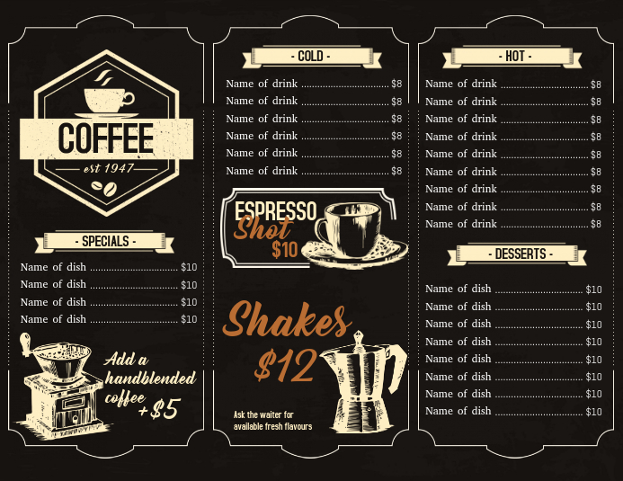 Menu design for coffee house Flyer (US Letter) template