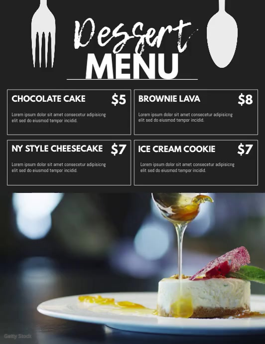 Menu Flyer (US-Letter) template