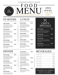 Menu Ulotka (US Letter) template