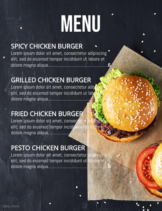menu Flyer (US-Letter) template
