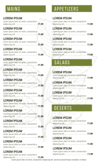 Menu Design Template US Legal