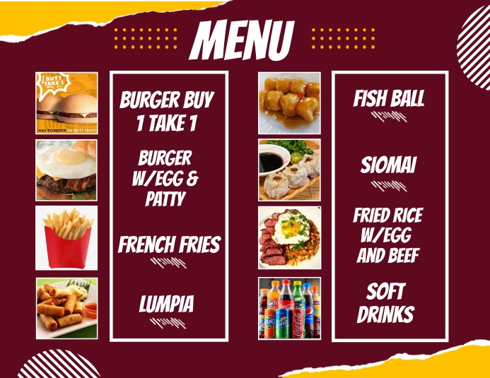 Menu Design Flyer (format US Letter) template