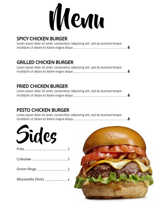 menu 传单(美国信函) template