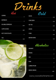Menu Drinks Template hot cold Alcoholics A4