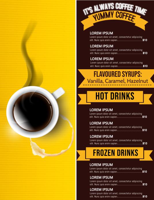 Menu flyer, Coffee flyers
