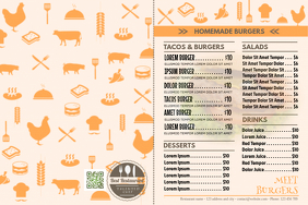 Ready made menu flyer for fast food restaurants