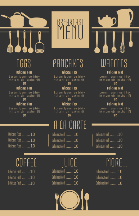 Customize 3000 Menu Templates Postermywall