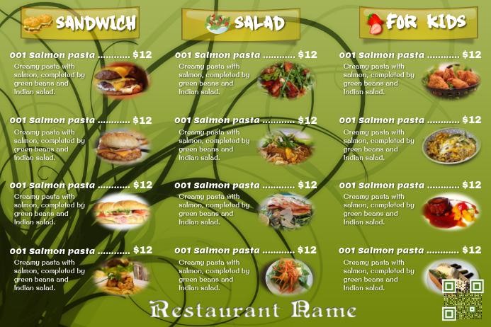 Fresh food menu flyer for restaurant