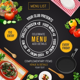 Menu flyers,event flyers Kwadrat (1:1) template