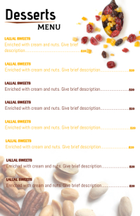 menu for desserts and bakery Halbe Seite breit template