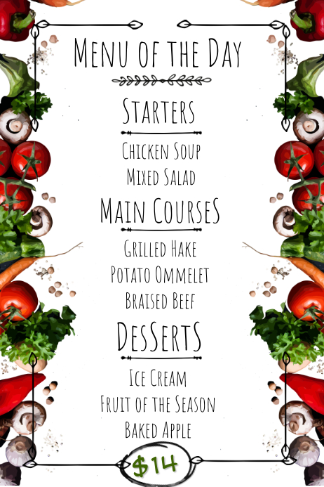 Menu of the Day Printable Menu Template