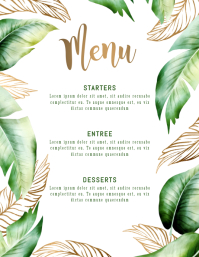 Menu Palm Leaves Template Flyer Volantino (US Letter)