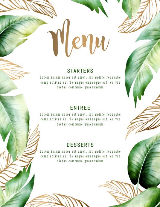 Menu Palm Leaves Template Flyer