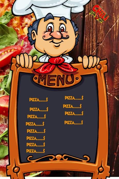 Menu pizza Poster template