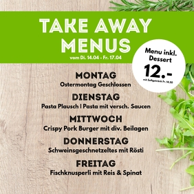 Menu Plan weekly Meals Restaurant Cantine ad Instagram Post template