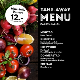 Menu Plan weekly Meals Restaurant Cantine ad Square (1:1) template