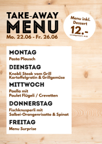 Menu Plan weekly Meals Restaurant Cantine ad A4 template