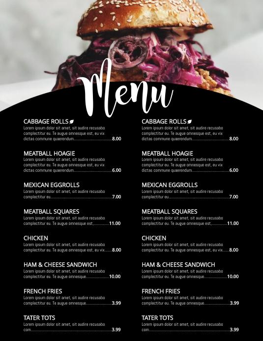 menu Flyer (format US Letter) template