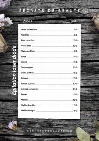 Menu Pricelist Prices A4 Size template