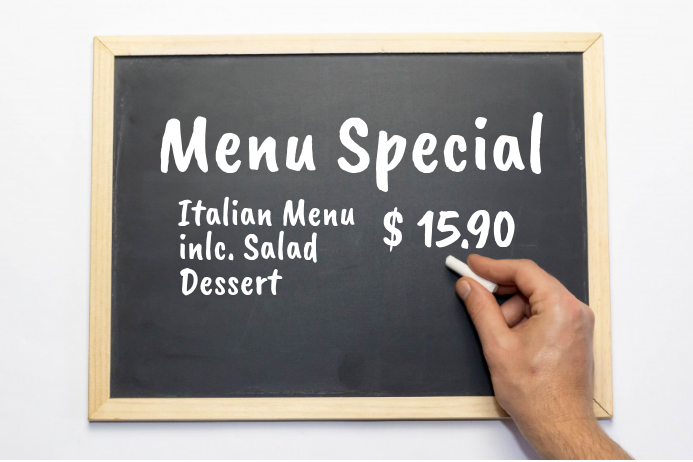 Menu Special Chalk Board news Offer Price Ad