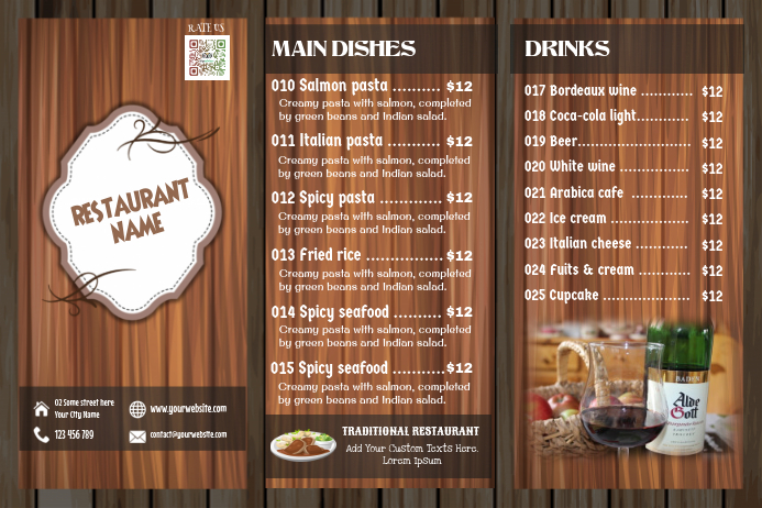 Trifold Menu Template For Traditional Restaurants Wood Background