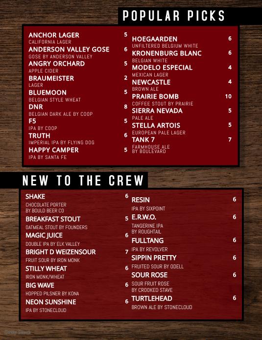 menu template for bar restaurant