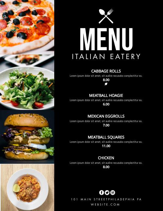 menus Flyer (US Letter) template