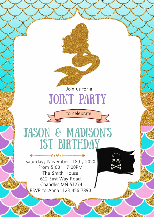 Mermaid and pirates birthday invitation