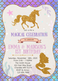 Mermaid and unicorn birthday invitation
