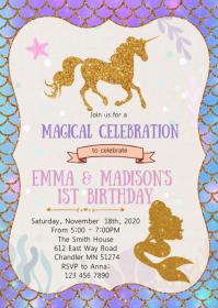 Mermaid and unicorn birthday invitation