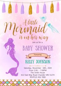 Mermaid baby shower party invitation