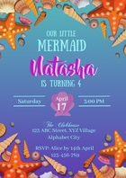 Mermaid Birthday Invitation A4 template