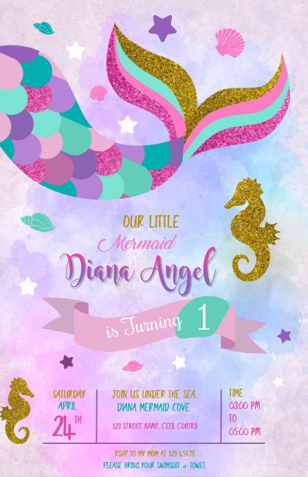 mermaid Birthday Invitation template Wide Setengah Halaman