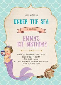 Mermaid birthday party invitation A6 template