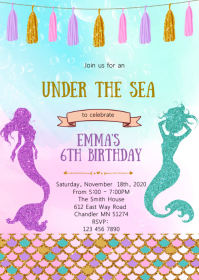 Mermaid birthday party invitation A6 template